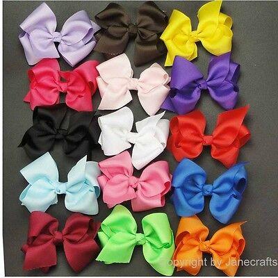 "15pc 3.5"" Boutique Hair Bows Alligator Clip Grosgrain Ribbon Headband Girls Baby"