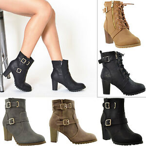 Womens Boots Ankle Booties Lace Up Buckle Strap High Heel Miltary ... 071cc9f087