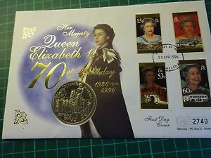 FIRST DAY COVER QUEENS 70th BIRTHDAY ST HELENA COIN LIMITED EDITION