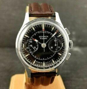 Rare-Sekonda-Chronograph-Poljot-Strela-Soviet-Pilot-Cosmonaut-Watch-C-3017