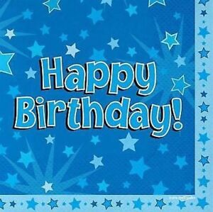 16 Pack Blue Boys HAPPY BIRTHDAY Stars Mens Luncheon Party Paper