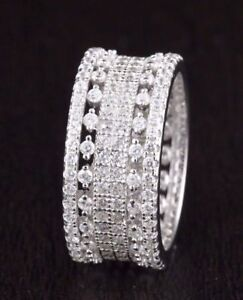 Womens-925-Sterling-Silver-CZ-Wedding-Engagement-Band-Ring-9mm-Wide-Eternity