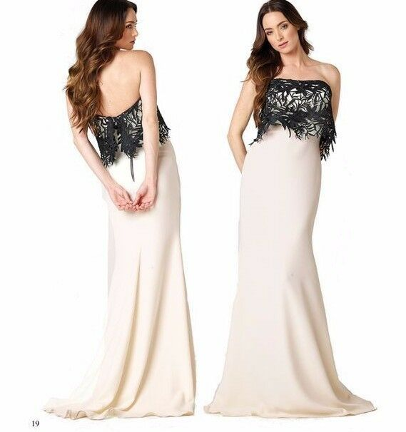 Nicole Bakti Ivory Black Lace Popover Strapless A Line Formal Gown 8