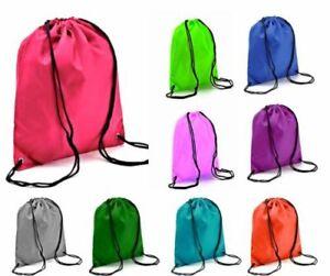 Cotton Drawstring Bag School Book Sport Gym Sack Swim PE Dance Shoe Backpack Sac