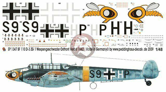 Peddinghaus  1//48 1347 BF 110 D-3 ZG 1 Wespengeschwader Ostfront Herbst 1942
