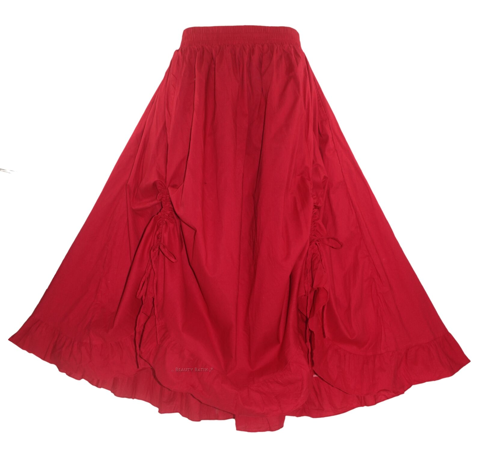 Red Women Cotton BOHO Gypsy Long Maxi Victorian Flare Skirt 1X 2X 18 20