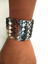 """Fashion Trend Style Fish Scale Embellished Ringent Cuff Bracelet 2"""" Width"""