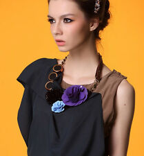 ELEGANT MARNI  COLOURFUL FLOWER STATEMENT BIB NECKLACE LEATHER TIE – NEW DUSTBAG
