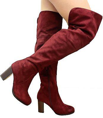 Nuevas señoras para mujer sobre la rodilla Botas Alto del muslo Doble Puño Bloque Talón Zapatos Talla