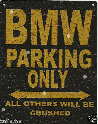 BMW PARKING METAL SIGN RUSTIC VINTAGE STYLE 6x8in 20x15cm garage