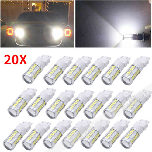 20Pack White 3157 3156 33SMD LED Car Tail Backup Reverse Turn Signal Light Bulbs