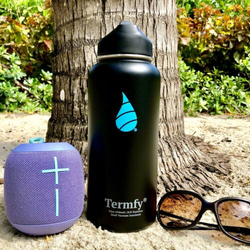 32 oz Stainless Steel Vacuum Insulated Water Bottle Black w//Straw Lid