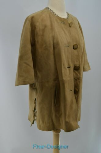 Vtg Light Suede Åben Læder Coat Tie Button Sz Jacket Vintage 14 Up Sides Cloak gaOwqFTnx