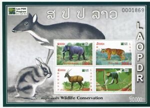 LAOS-STAMP-2011-WILDLIFE-CONSERVATION-TIGER-ELEPHANT-DEER-MONKEY-S-S-SHEET