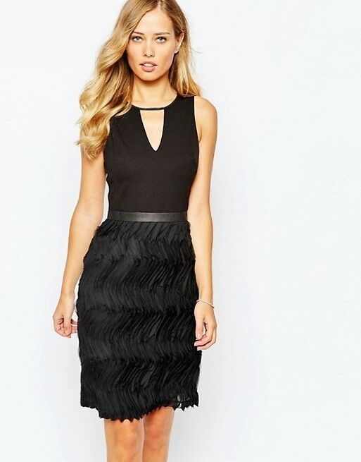 COAST DEXI schwarz TEXTUrot RUFFLE FRILL COCKTAIL DRESS 16 BNWT