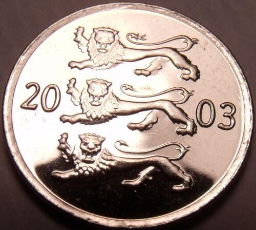 Gem Unc Estonia 2003 20 Senti~Three Lions Stacked~Excellent~Free Shipping