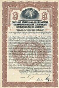 Deutsche Rentenbank-kreditanstalt Agricole Banque Centrale, 1925, 500 $-ditanstalt Landwirtschaftliche Zentralbank, 1925, 500 $ Fr-fr Afficher Le Titre D'origine