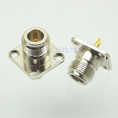 2pcs Connector N female jack 4-hole 25.4mm flange solder panel mount straight