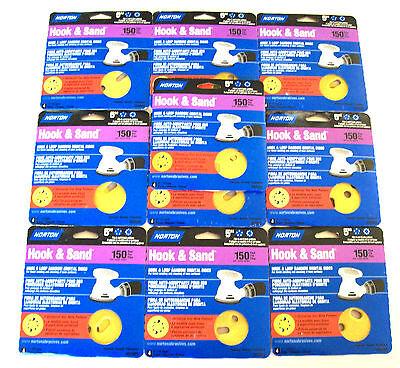 """40 NORTON 5"""" HOOK & LOOP SANDING DISCS 02003 8 & 5 HOLE 150 GRIT ORBITAL SANDER"""