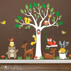 Details About Woodland Tree With Lots Of Animals Children Playroom Nursery Wall Decal