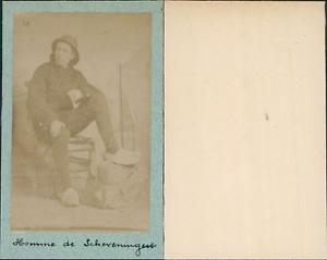 Costume-Pays-Bas-Scheveningen-CDV-vintage-albumen-Tirage-albumine-6-5x10