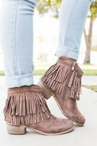 New-Women-039-s-Braided-Layered-Fringe-Cuff-Cowgirl-Booties-Ankle-Boot-Low-Flat-Heel