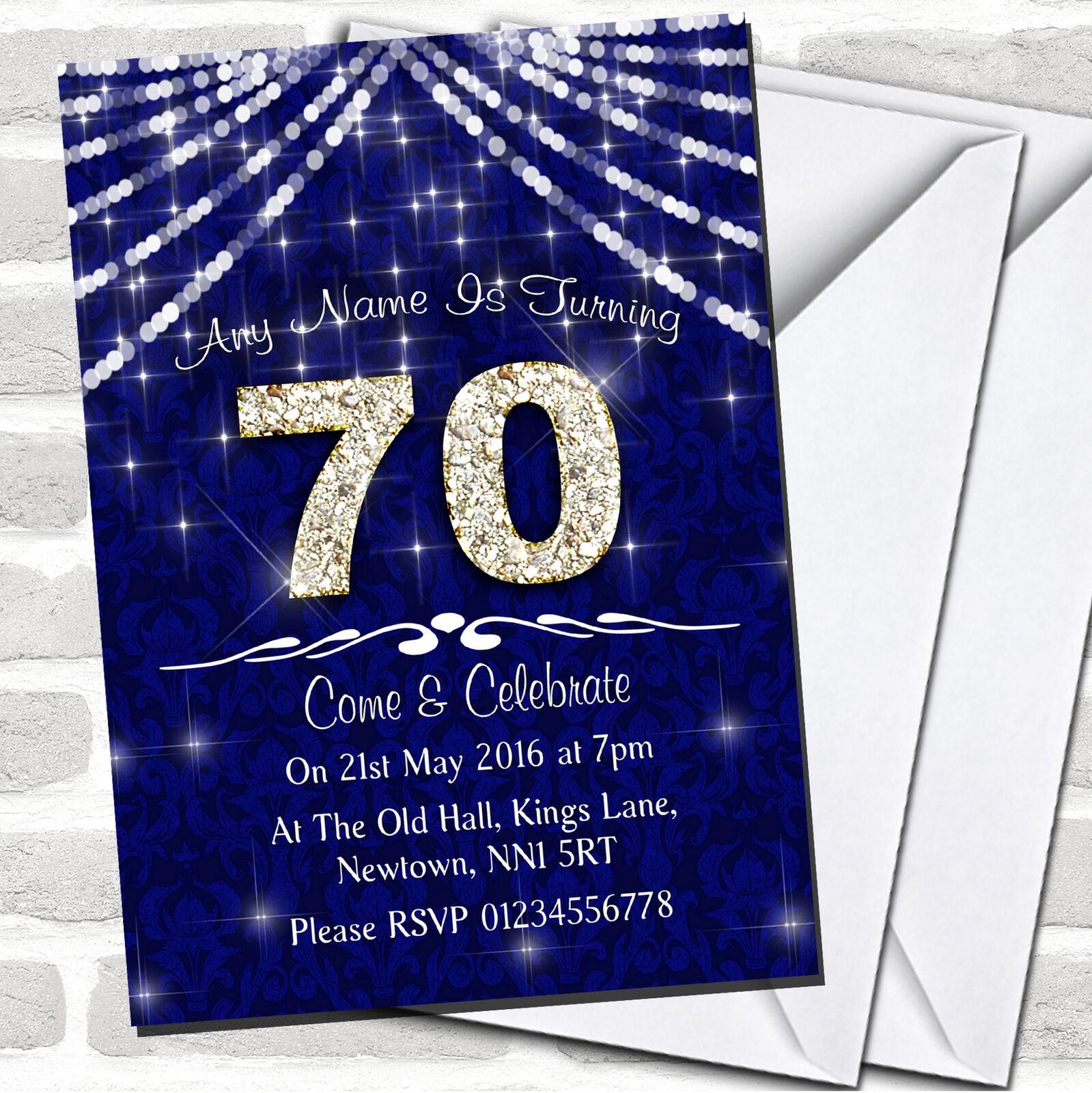 70Th Navy Blau & Weiß Bling Sparkle Birthday Party Invitations