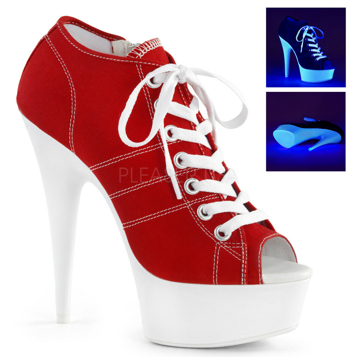 PLEASER 6  Heel Lace Up Peep Toe Platform Blacklight Red Canvas Sneaker shoes