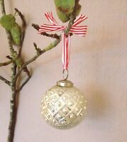 Silver Dotted Mercury Glass Bauble, Christmas Tree Decoration, Shabby Chic