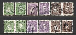 Denmark-1924-Danish-Post-Anniversary-Both-Sets-Nice-Used-Cat-90-SG218A-223B