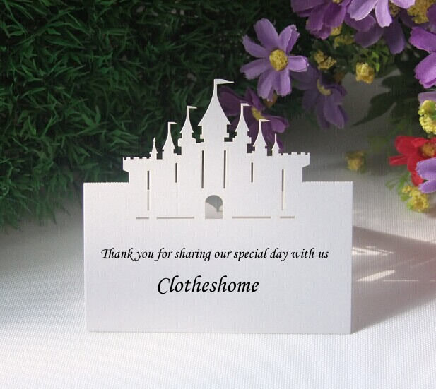 Laser cut Castle Name Place Cards,Table Cards,Wedding Sweets Favours