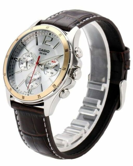 Casio MTP-1374L-7 Original Analog Leather Mens Watch Water Resistant MTP-1374L