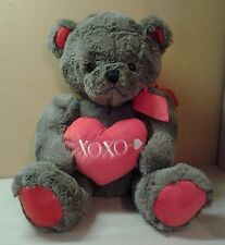 "Animal Adventure Gray Teddy Bear Plush XOXO Heart Pillow 18"" stuffed animal NWOT"