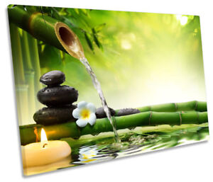 Green-Zen-Stones-Bamboo-Picture-SINGLE-CANVAS-WALL-ART-Print