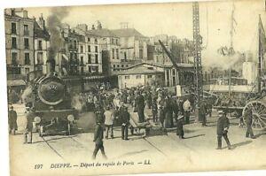 CPA-76-DIEPPE-DEPART-DU-RAPIDE-DE-PARIS-Anime-Train-Locomotive