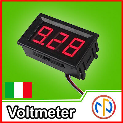 Voltmetro digitale 100V LED blu blue tensione tester pannello auto moto camper