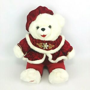 Dan-Dee-2000-Christmas-White-Red-Snow-Flake-Teddy-Bear-Plush-Soft-Stuffed-Toy