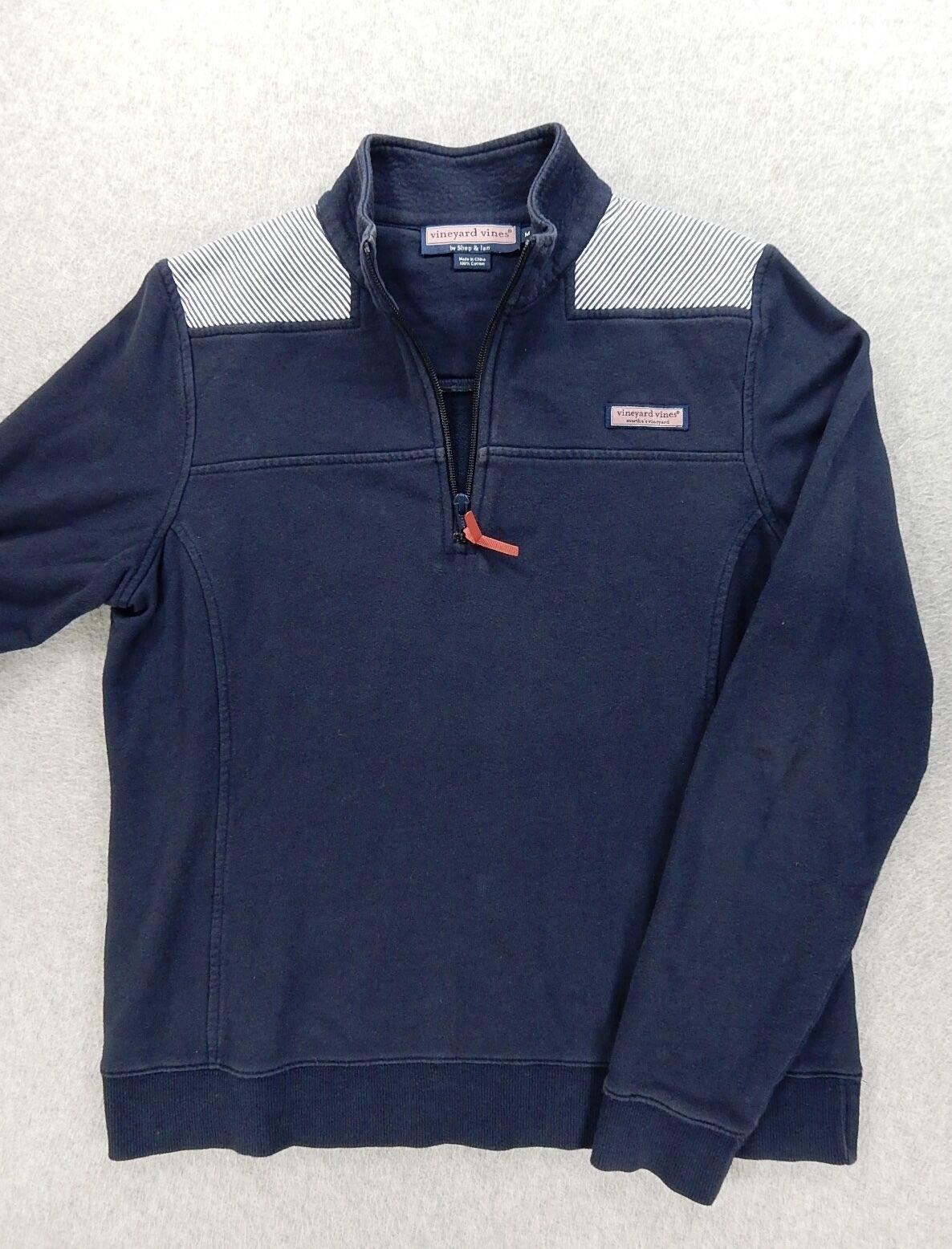 Vineyard Vines Oxford Stripe 1 4 Zip Shep Shirt (Womens Medium) bluee