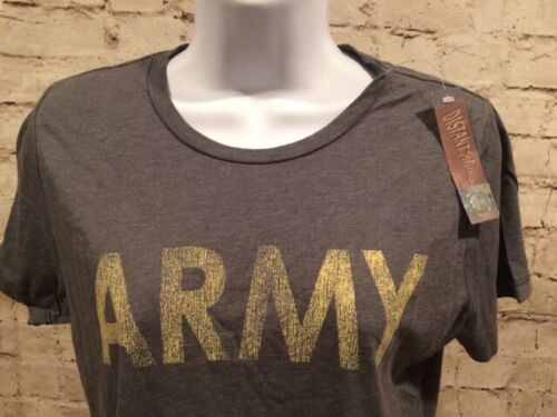 MQ5 Womens Army College Gray Fitted Premium T Shirt Military Wife Fan Large
