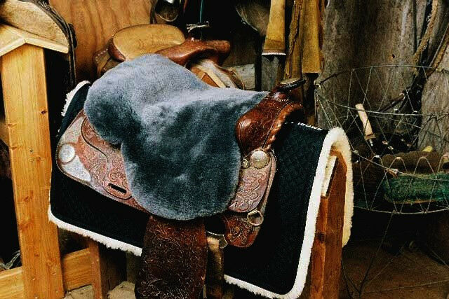 Western Sheepskin Saddle Cover - Charcoal