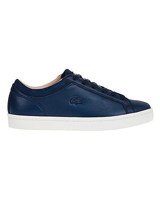 LACOSTE straightset Scarpe Da Ginnastica in Pelle Blu Navy Sz 4UK RRP .99 vendita Scarpe classiche da uomo