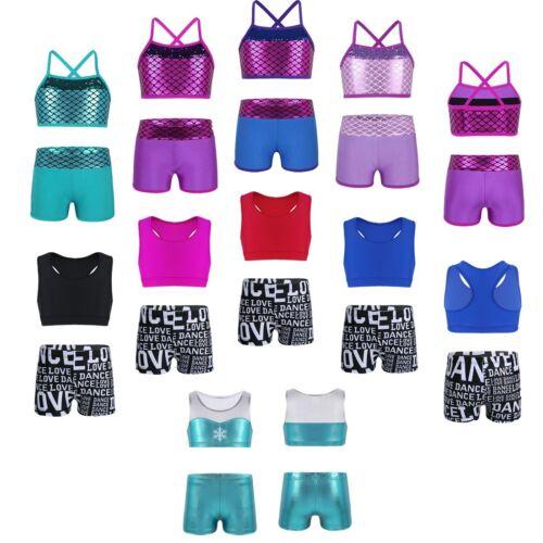 Girls Shiny Mermaid Ballet Dance Tankini Outfit Kids Gymnastics Gym Workout Set