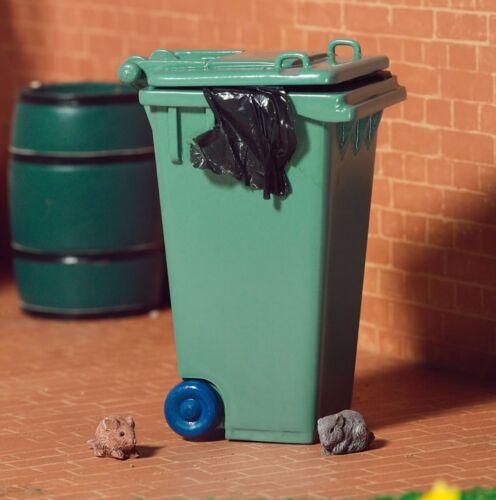 Escala 1:12 vacía de plástico verde Wheelie Bin tumdee casa de muñecas en miniatura de jardín