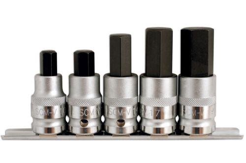 19mm Sturdy Hex ALLEN Bit Socket Set MM Metric 1//2 DRIVE 5pc 10mm Rail