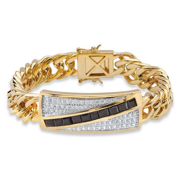 """Men's 1.70 TCW Genuine Onyx and CZ 14k Gold-Plated Bracelet 8"""""""