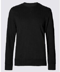 Ex-M-amp-S-Crew-Neck-Fleece-Casual-Plain-Jumper-Sweatshirt-Pullover-Marks-Spencer