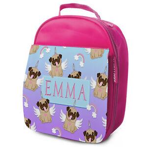 Pug-Lunch-Bag-School-Childrens-Girls-Insulated-Pink-Personalised-Unicorn-KS144