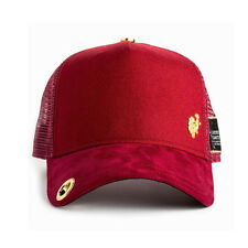 Red Monkey 18k Gold Micro Suede Burgundy Trucker Cap Hat RM1104BG