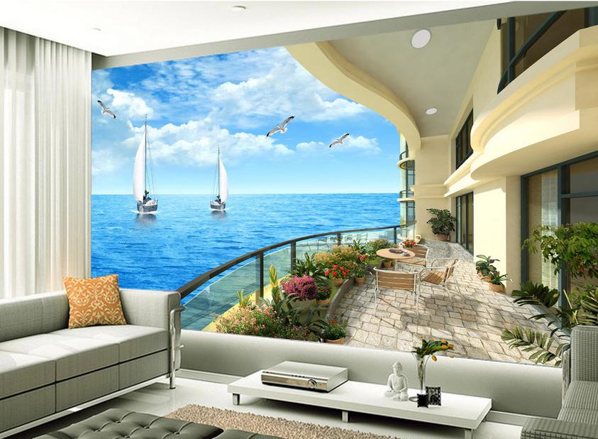 3D Blaumen Meer Hof  853 Tapete Wandgemälde Tapete Tapeten Bild Familie DE Summer | Kostengünstig  | Outlet  | Neues Design