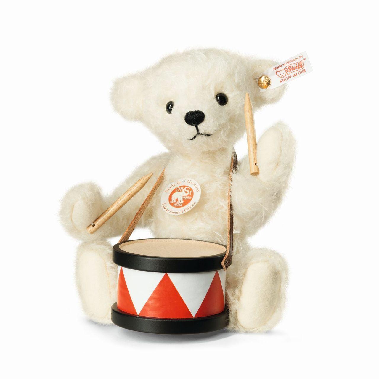 STEIFF  LUKAS TEDDY BEAR  EAN 034060 bianca MOHAIR BEAR WITH DRUM